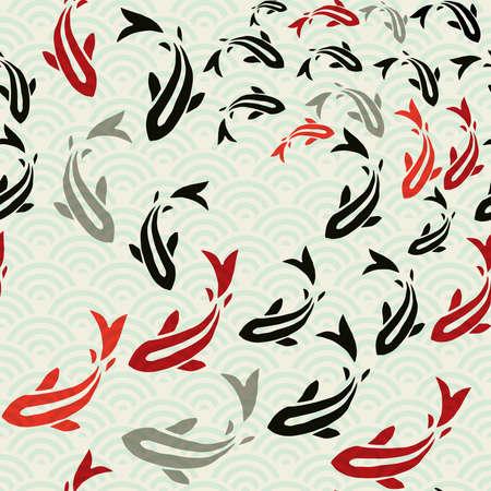 Koi fish seamless pattern, traditional asian style art of carp goldfish swimming in pond. Illustration