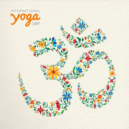 International yoga day greeting card. Om symbol made of flower decoration. Spiritual sign on paper texture background.
