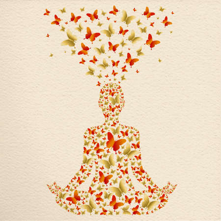Person silhouette doing yoga lotus pose. Meditation exercise illustration made of gold butterfly decoration, zen relaxation for wellness and health. Иллюстрация