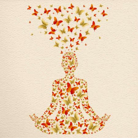 Silueta de persona haciendo pose de loto de yoga. Ilustración de ejercicio de meditación hecha de decoración de mariposa dorada, relajación zen para el bienestar y la salud.