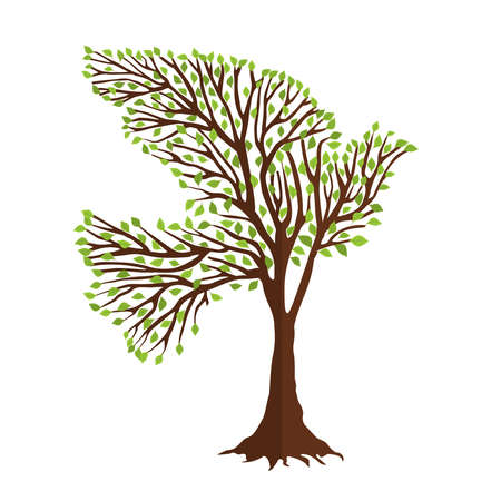 Tree with green dove bird shape in branches. Nature help concept, environment or earth care support.