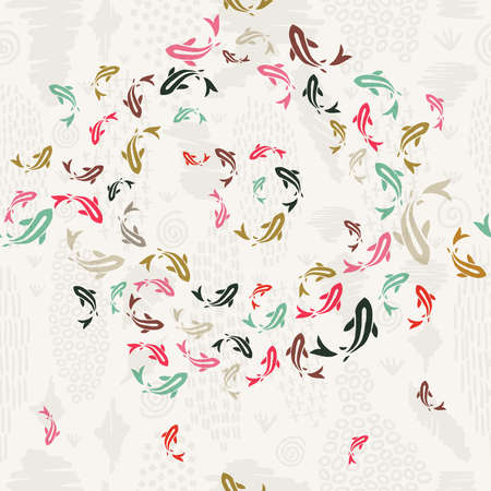 Koi fish seamless pattern, colorful asian style art of carp goldfish swimming in pond. Illusztráció
