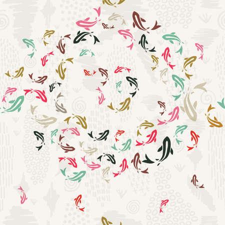 Koi fish seamless pattern, colorful asian style art of carp goldfish swimming in pond. Stock Illustratie