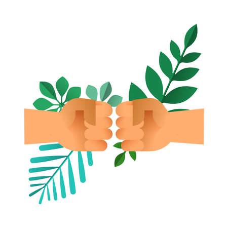 Fist bump hands with green leaves on isolated background. Nature help teamwork concept or environment conservation team illustration.
