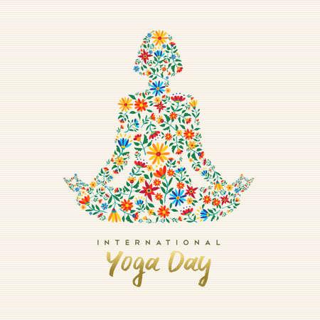 Internationales Yoga Day Design für besondere Anlässe. Mädchen meditiert in Lotushaltung gemacht von Blumendekoration, Entspannungsübungsillustration.