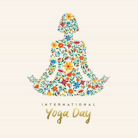 Progettazione di una giornata internazionale di yoga per eventi speciali. Ragazza che medita nella posa del loto fatta di decorazioni floreali, illustrazione di esercizi di rilassamento.