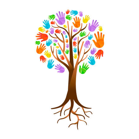 Tree made of colorful human hands with branches and roots.