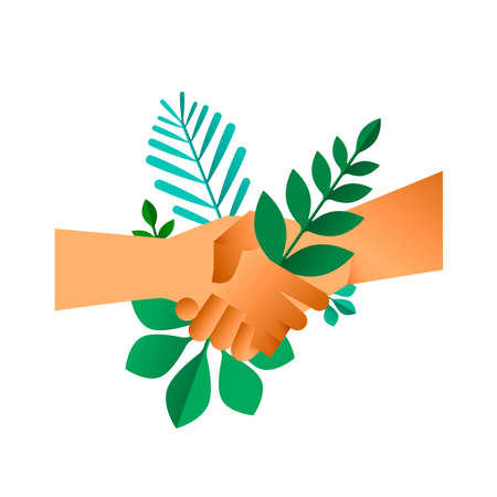 Handshake with green leaves on isolated background. Business deal concept illustration or earth help agreement. Illustration