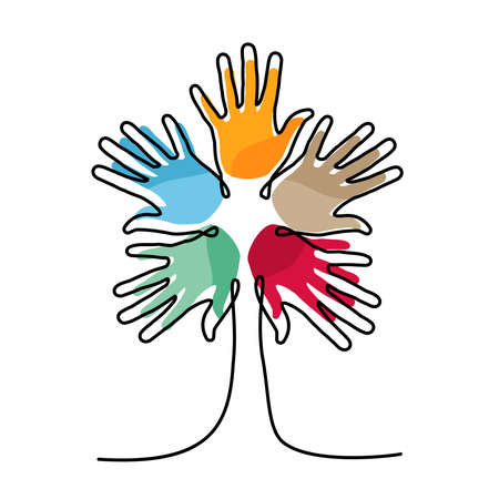 Tree made of colorful human hands in single continuous line. Concept idea for community help, charity project or cultural event.