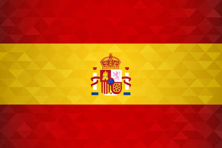 Spain flag for special country event with geometric triangle background.