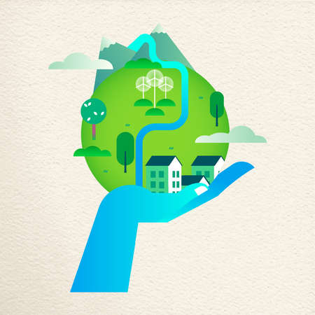 Human hand holding green planet earth. Environment care concept for nature help. Sustainable community with wind mill turbine and smart houses. Ilustrace