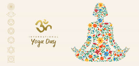 International yoga day web banner for special event. Girl meditating in lotus pose made of flower decoration, relaxation exercise illustration.