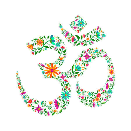 Om symbol made of flower decoration. Spiritual yoga sign on isolated background, religious india culture calligraphy.