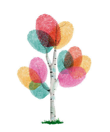 Colorful fingerprint tree made of human finger print. Identity concept, environment help or nature care. Stock Illustratie
