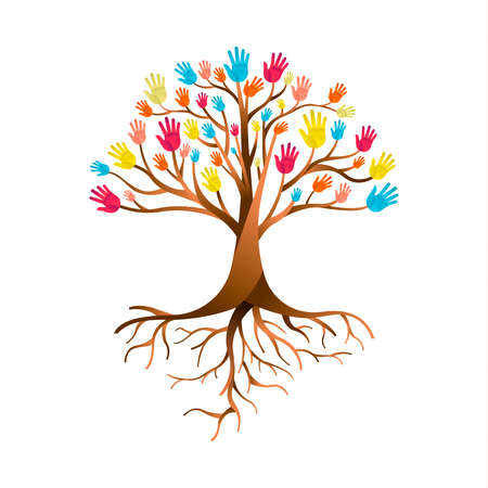 Tree made of colorful human hands with branches and roots. Community help concept, diverse culture group or social project.