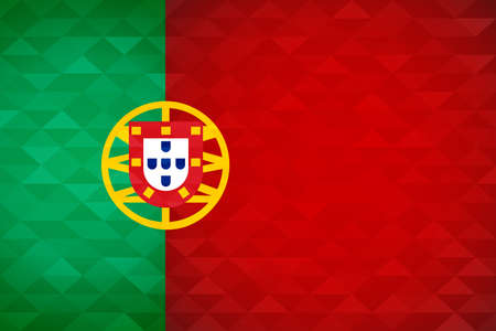 Portugal flag for special country event with geometric triangle background. International portuguese nation template.