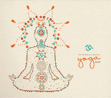 International yoga day card. Person relaxing in lotus pose made of indian culture boho style decoration, zen meditation exercise illustration.