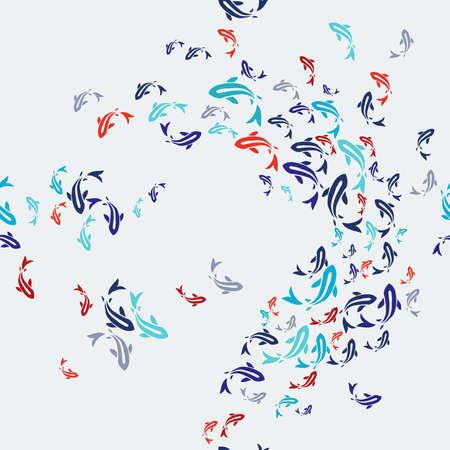 Koi fish seamless pattern, colorful asian style art of carp goldfish swimming in pond. Illustration