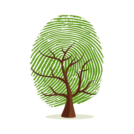 Vingerafdruk boom. Groen menselijk vingerafdrukconcept voor psychologieproject, identiteits- of persoonlijkheidsontwerpen.