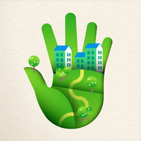 Green human hand in paper cut art style with smart city landscape, concept for environment care or sustainable houses.