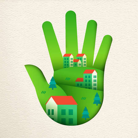 Green human hand in paper cut art style with eco friendly city landscape. Smart home village concept for environment care or sustainable community. Ilustração