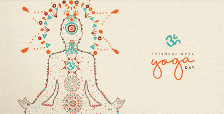 International yoga day web banner. Person relaxing in lotus pose made of indian culture boho style decoration, zen meditation exercise illustration.