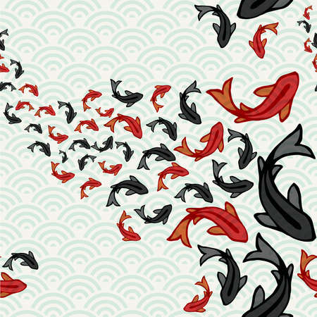 Koi fish seamless pattern, traditional asian style art of carp goldfish swimming in pond. Hand drawn illustration background.