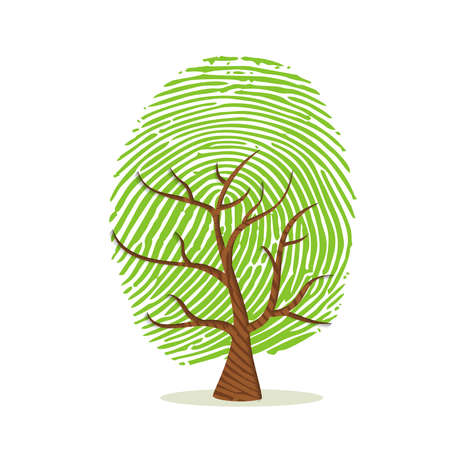 Fingerprint tree made of green human finger print. Identity concept, environment help or earth care.