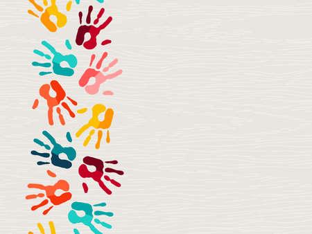 Color handprint background concept, human hand print illustration for kid education, school learning or diverse community help. Illustration