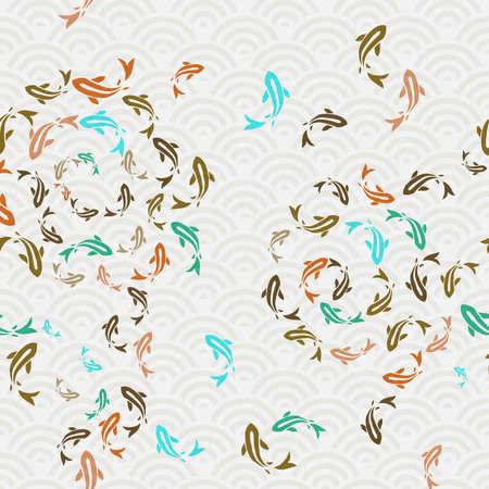 恋魚シームレスパターン、池で泳ぐ鯉金魚のカラフルなアジアスタイルのアート。手描きイラストの背景。