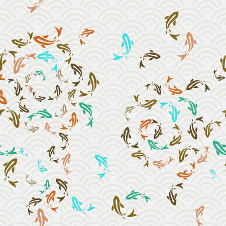Koi fish seamless pattern, colorful asian style art of carp goldfish swimming in pond. Hand drawn illustration background. Ilustração