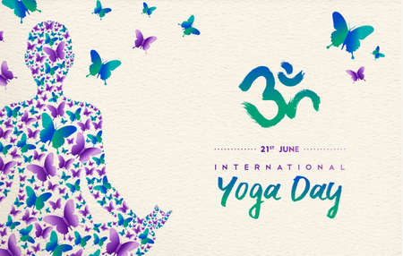 International yoga day greeting card for special event. Woman meditating in lotus pose made of butterfly decoration, relaxation exercise illustration.