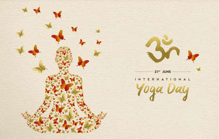 International yoga day greeting card for special event. Woman meditating in lotus pose made of gold butterfly decoration, relaxation exercise illustration. Illustration