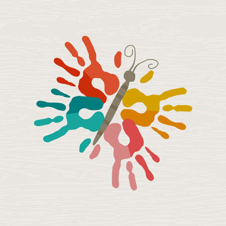 Butterfly made of color handprints, human hand print illustration concept for kid education, school learning or creativity. Illustration