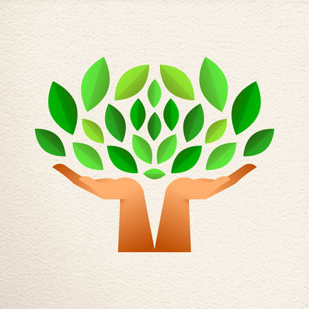 Tree with human hands together and green leaves. Eco friendly concept illustration for environment help, nature care or charity project.