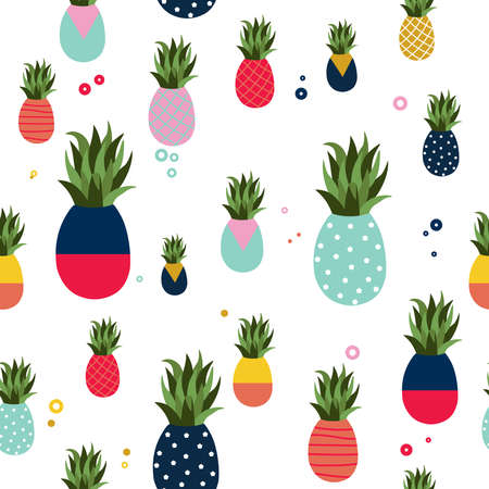 Pineapple seamless pattern illustration, colorful memphis retro style fruit background. Abstract geometric shape decoration for summer.