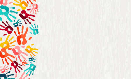 Human hand print color background. Colorful children paint handprints illustration for social community, education or teamwork concept.  vector.