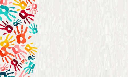Menselijke hand afdrukken kleur achtergrond. Kleurrijke kinderen schilderen handafdrukken illustratie voor sociale gemeenschap, onderwijs of teamwerk concept. vector. Vector Illustratie