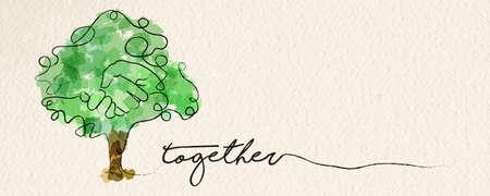 Bannière web de concept de convivialité avec illustration de ligne continue aquarelle de main à l'intérieur d'un arbre. vecteur.