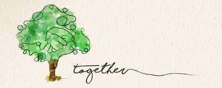 Togetherness concept web banner with watercolor continuous line illustration of hand inside a tree. vector.