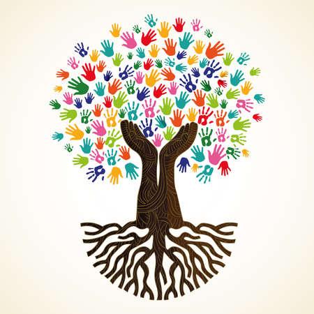Baumsymbol mit bunten menschlichen Händen. Konzeptillustration für Organisationshilfe, Umweltprojekt oder Sozialarbeit. Vektor.