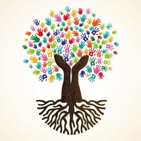 Tree symbol with colorful human hands. Concept illustration for organization help, environment project or social work. vector.