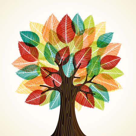 Tree with wood texture and autumn color leaves. Concept illustration for environment care or nature help project.  vector.