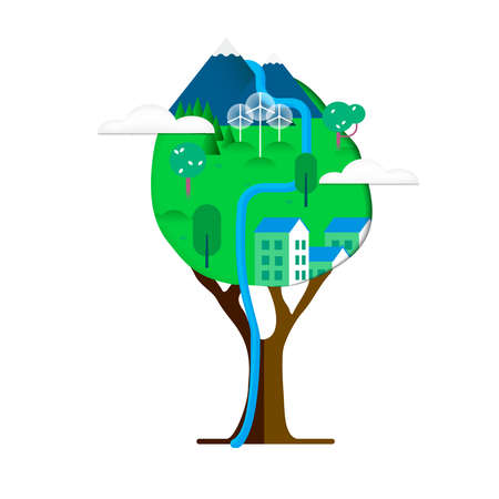 Green tree, planet earth in paper cutout style  isolated over white. Mountain river landscape and sustainable city with wind turbines. vector.