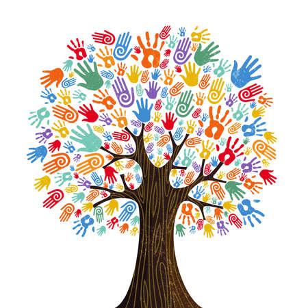 Albero con mani umane colorate insieme. Illustrazione del concetto di squadra della comunità per la diversità culturale, la cura della natura o il progetto di lavoro di squadra. vettore.