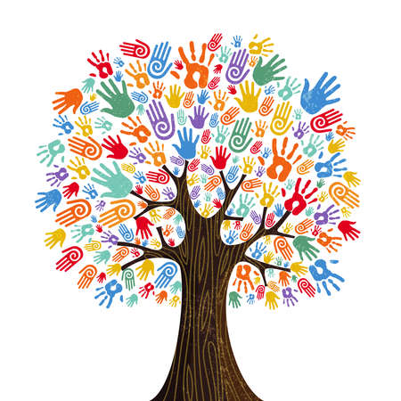 Tree with colorful human hands together. Community team concept illustration for culture diversity, nature care or teamwork project.  vector.