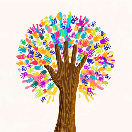 Tree with colorful human hands together. Community team concept illustration for culture diversity, nature care or teamwork project. vector. Ilustração