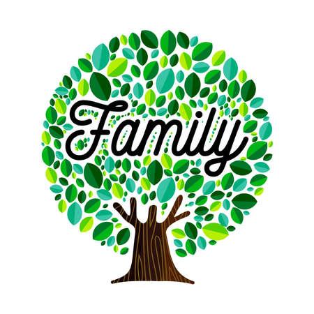 Concepto de ilustración de árbol genealógico, hojas verdes con cita de texto para el diseño de la genealogía. vector. Ilustración de vector