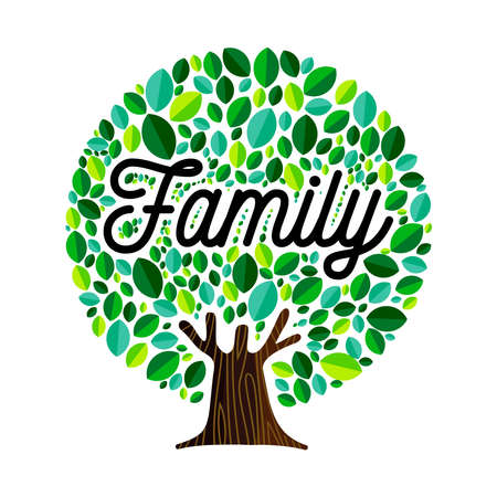 Family tree illustration concept, green leaves with text quote for genealogy design.  vector. Çizim