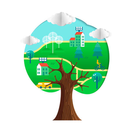 Tree with green city paper cutout. Environment care concept for nature help. Sustainable community includes wind mill turbine, electric cars and smart houses.  vector.